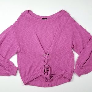 NWT Express Pink Front Tied Oversized Sweater M